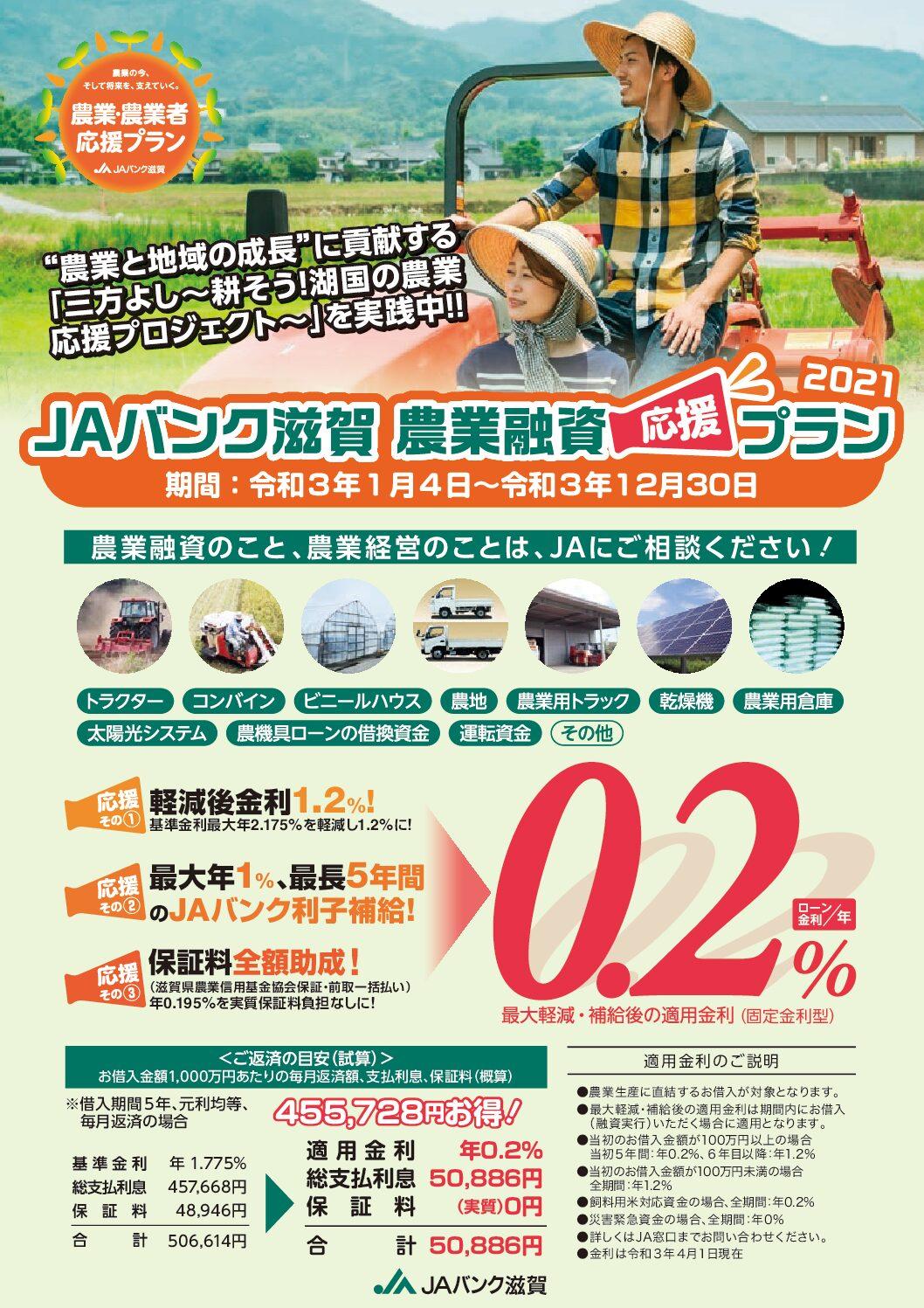 JAバンク滋賀 農業融資応援プラン2021